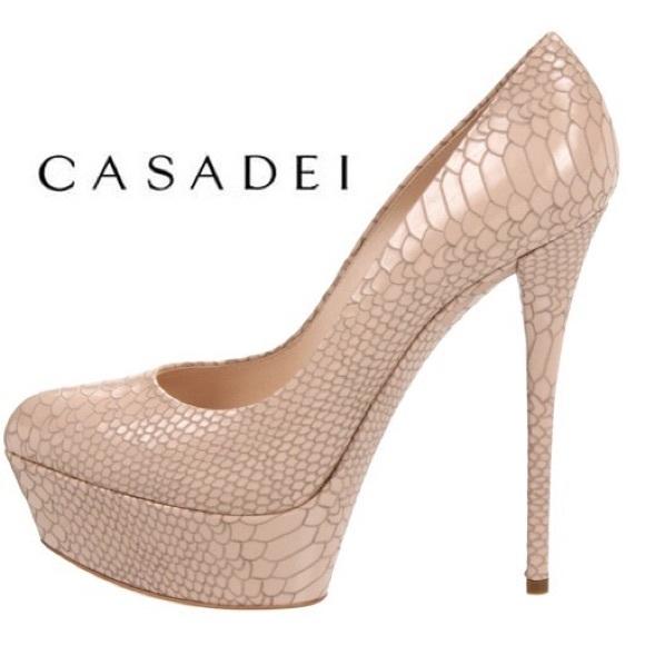 a2021ad9437 Casadei Shoes | Nude Snakeskin Pumps | Poshmark